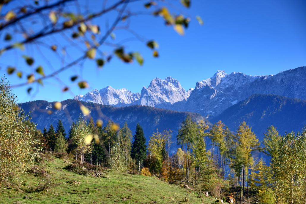 Gebirgsmassiv des Kaisergebirges von Kiefersfelden in Bayern aus gesehen
