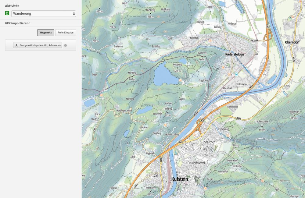 Freizeitkarte für Aktivitäten, Wandern, Radfahren, Mountainbiken in Kiefersfelden