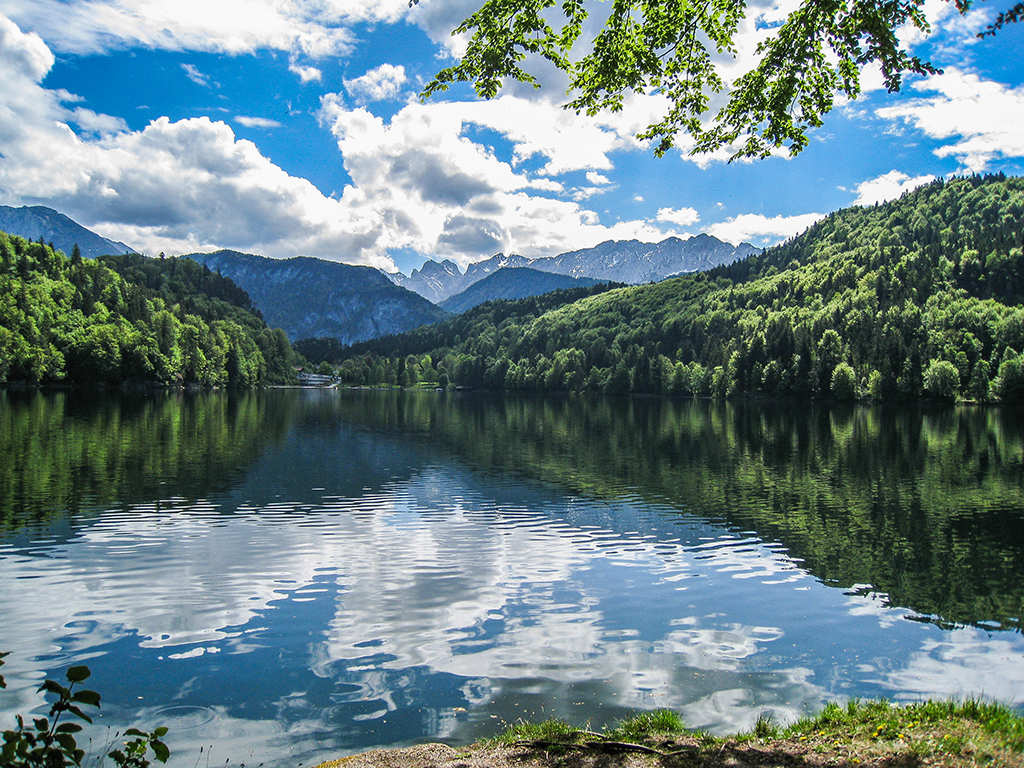 Gebirgssee zwischen Bayern und Tirol von Wald umgeben