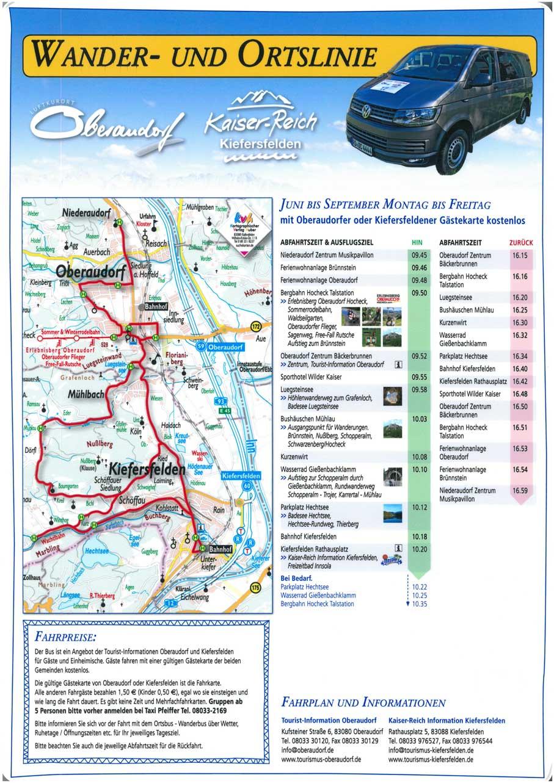 Karte und Abfahrtszeiten der Ortslinie Kiefersfelden-Oberaudorf
