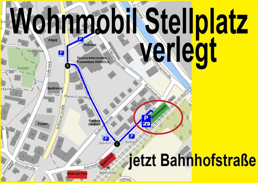 Karte zur Lage des Wohnmobilstellplatzes Bahnhofstraße in Kiefersfelden